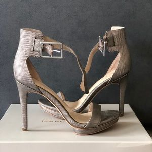 Calvin Klein Gold Heel Sandals. Material, leather.
